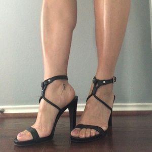 Authentic PRADA blk leather strapy heels